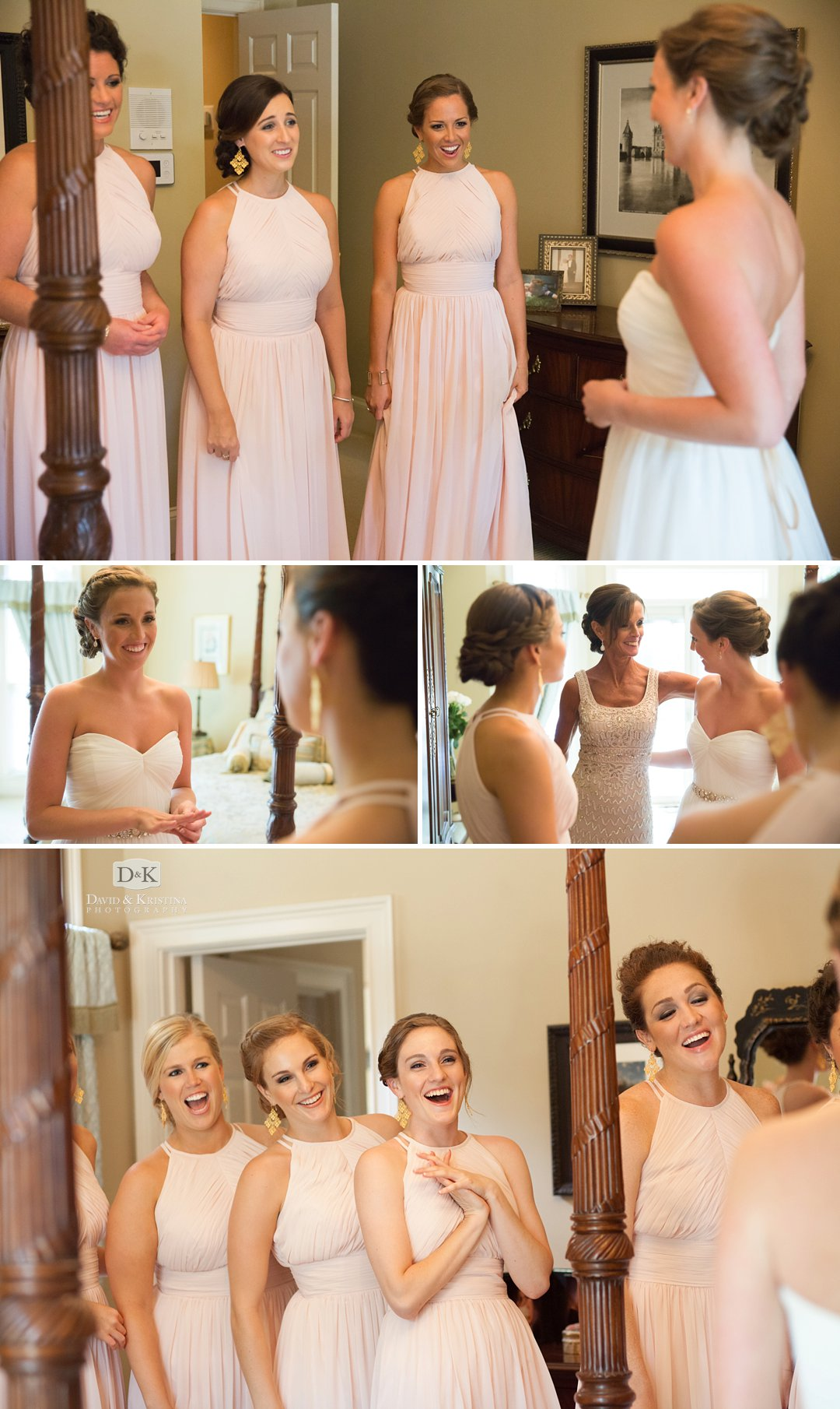 bridesmaids seeing bride in wedding dress for the first time