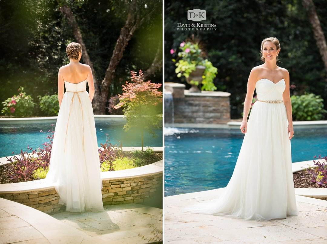 bride in wedding dress by the pool