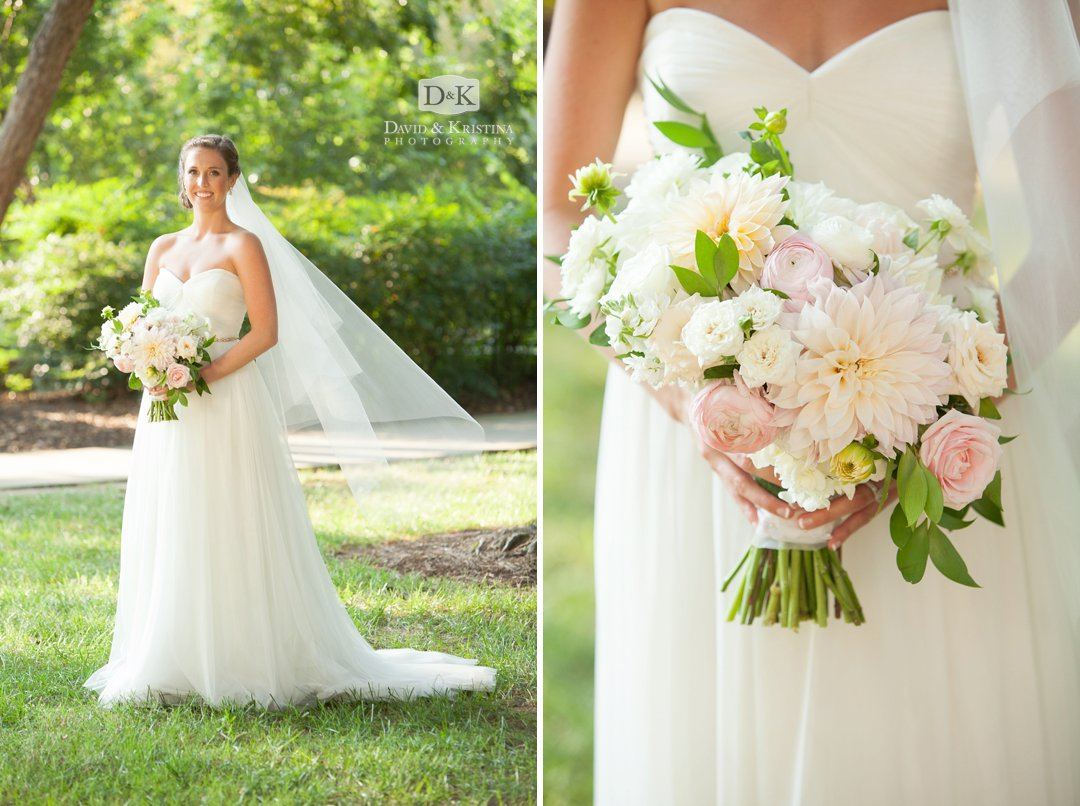 bride in dress and veil with bouquet