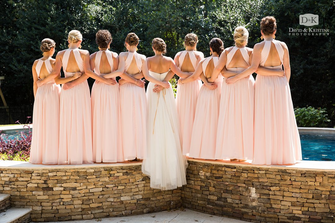 back of bride and bridesmaids dresses