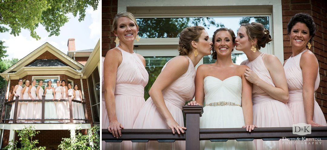 bride's sisters kissing her on the cheek