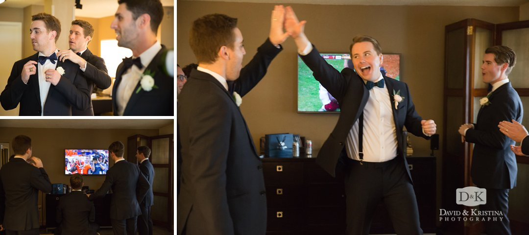 groomsmen watching football before wedding