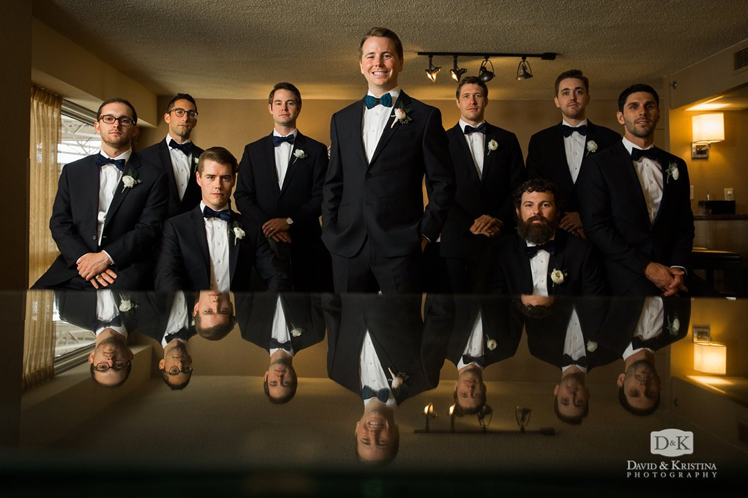 groomsmen in hotel room at Hyatt Greenville