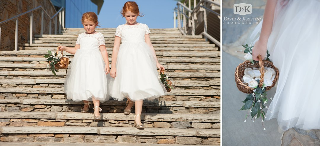 flower girls walking down steps