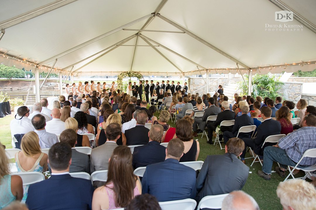 tented wedding ceremony at Wyche Pavilion