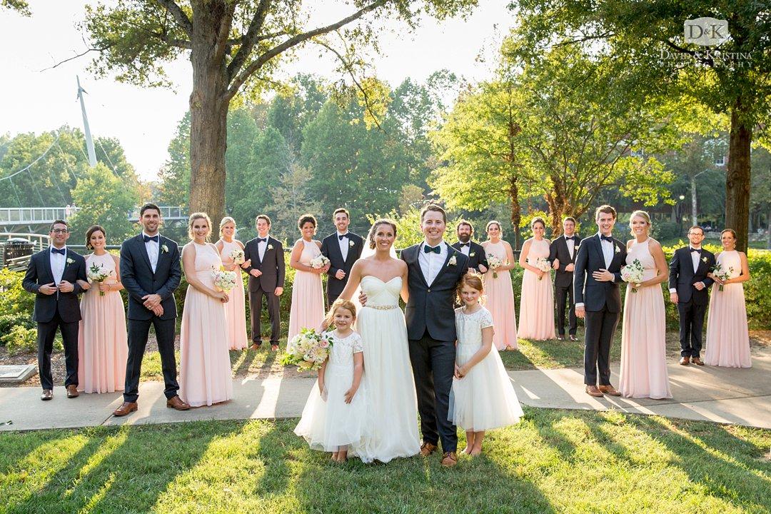 bridal party photo at Liberty Bridge