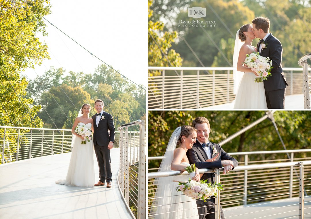 bride and groom on Liberty Bridge in Falls Park