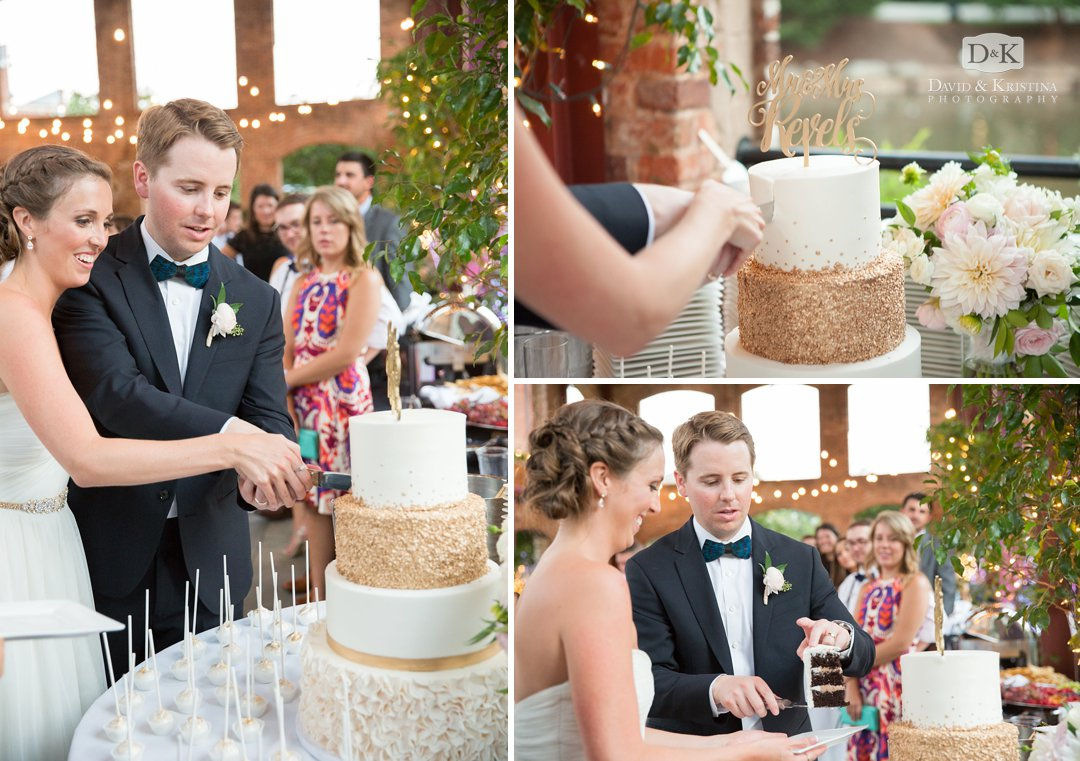 bride and groom cutting cake by Couture Cakes