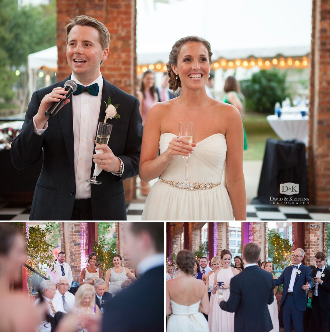 bride and groom thank guests
