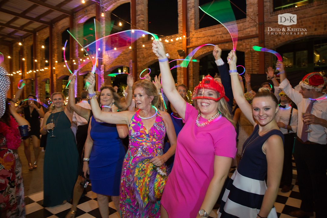 glow sticks at wedding reception