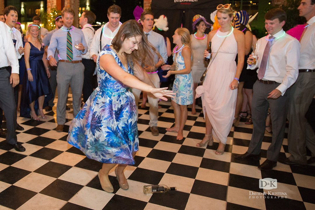 spin the bottle dance at wedding reception