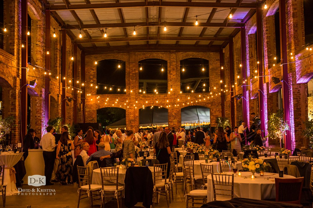Wyche Pavilion with strand lighting for wedding reception