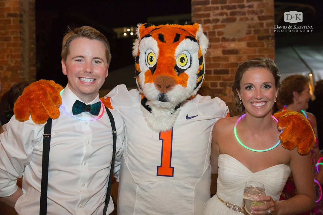 bride and groom with Clemson Tiger