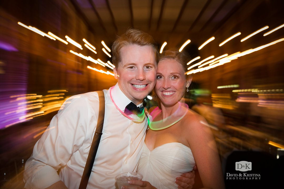 bride and groom at Larkins wedding reception at Peace Center Wyche Pavilion