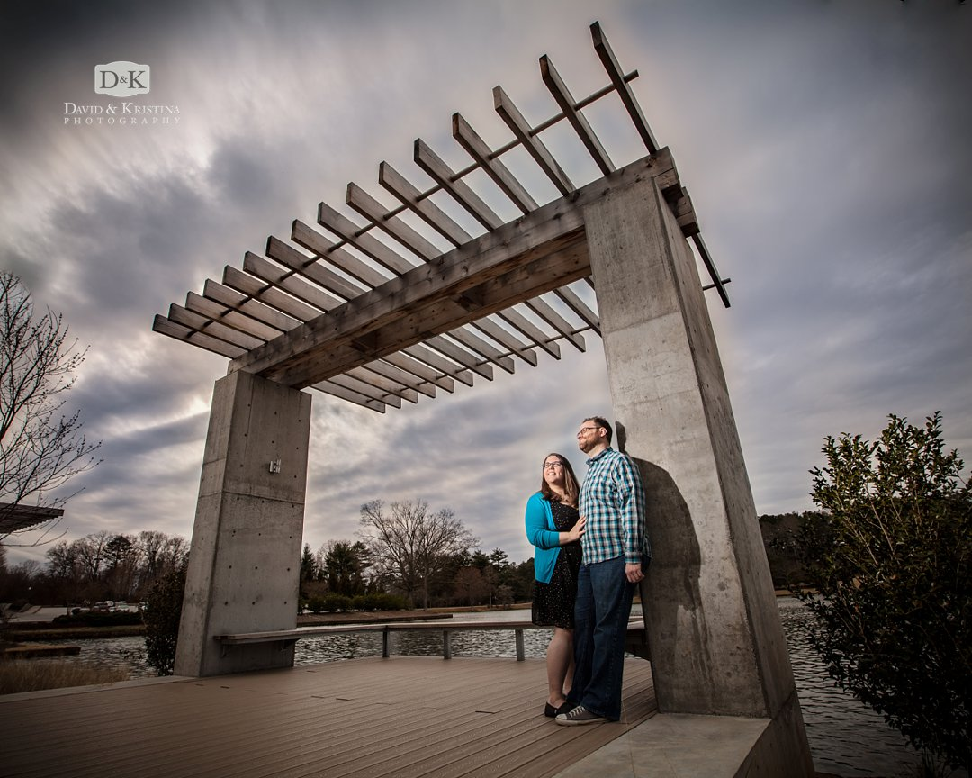 engagement photo by lake at Furman
