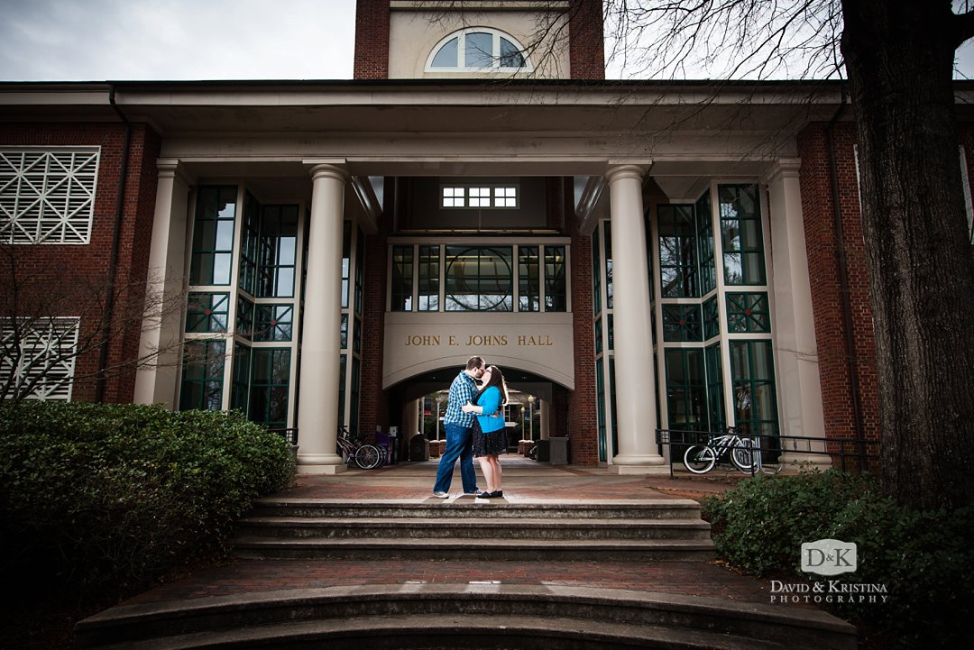 engaged couple in front of John E. Johns Hall at Furman