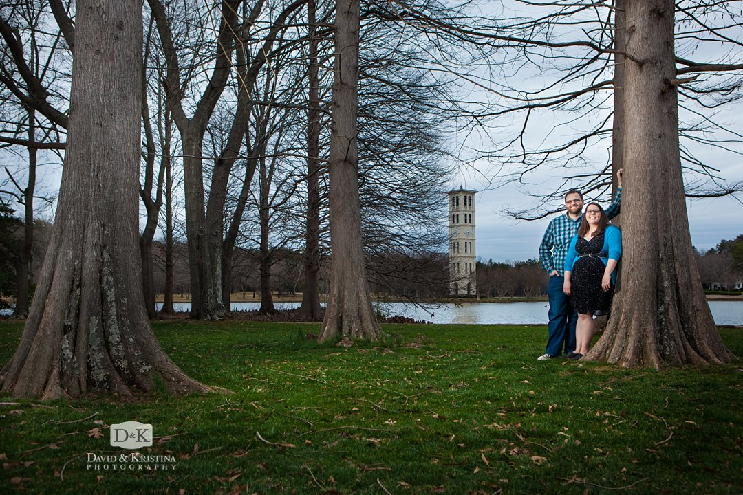 at the Furman lake in front of the bell tower