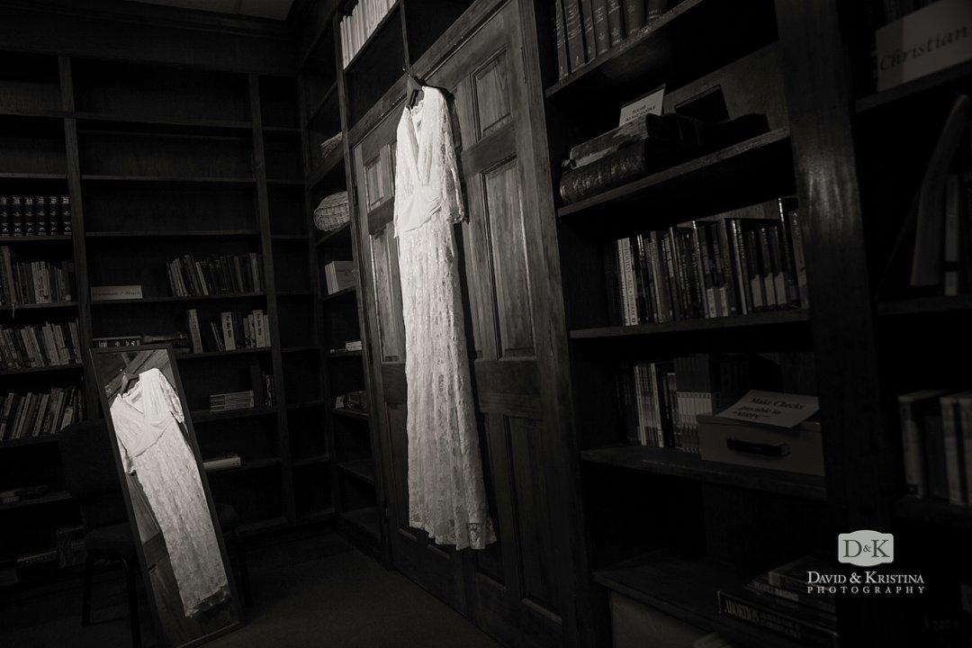dress hanging on door