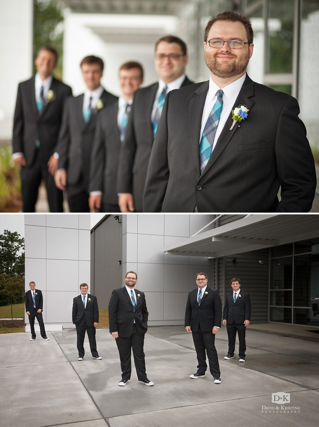 groom with groomsmen at Mitchell Road Presbyterian wedding