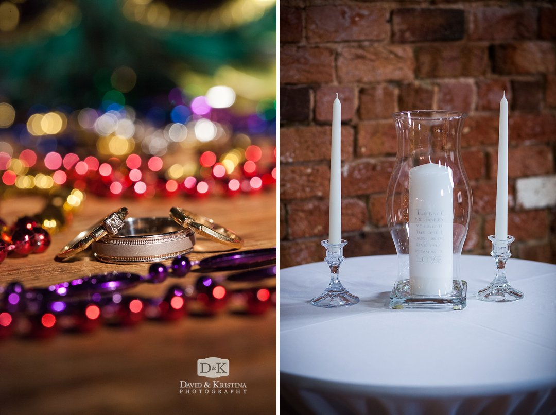 rings and mardi gras beads at wedding