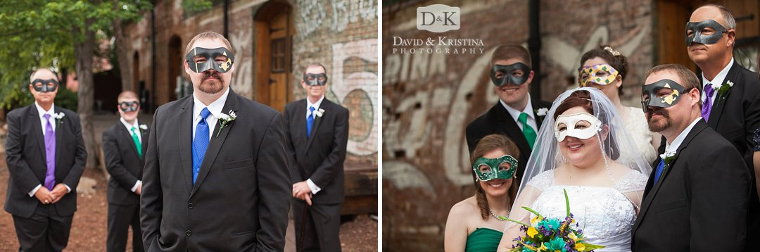 Mardi Gras masks at wedding