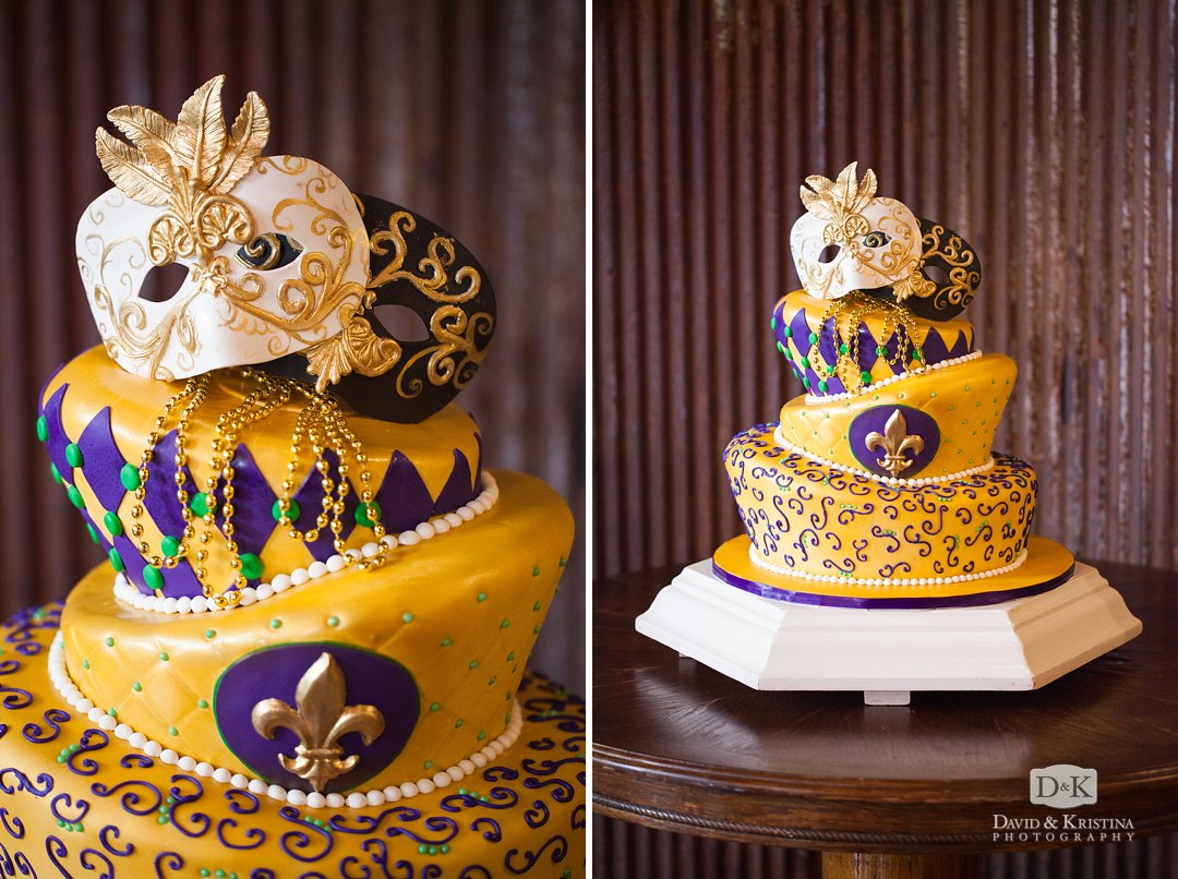 mardi gras cake with masks by Holly's Cakes