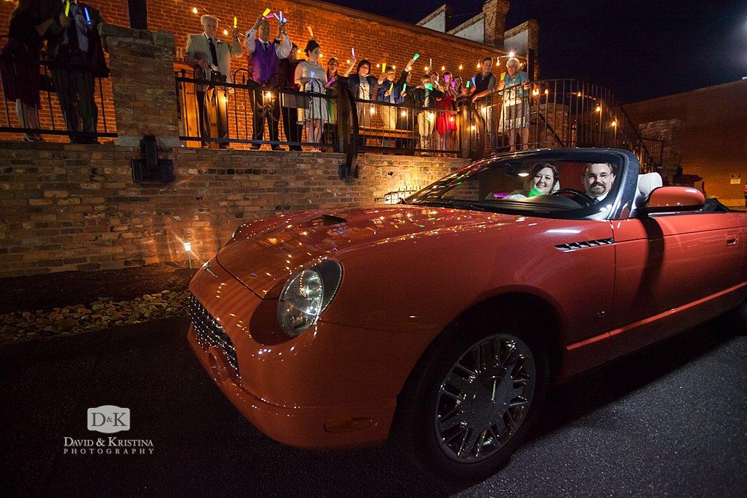 Thunderbird convertible for bride and groom getaway car