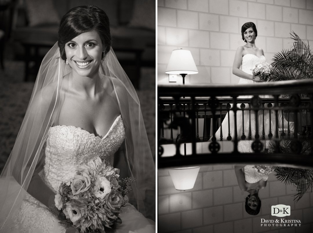 bridal portrait in the lobby of the Poinsett hotel