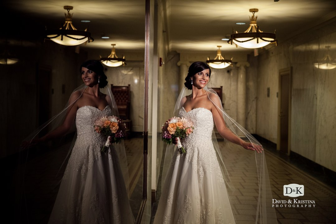 bride in hallway of Westin Poinsett Hotel