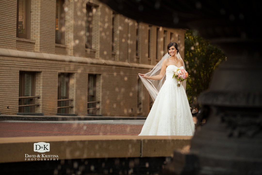 Westin Poinsett Hotel wedding photo at fountain