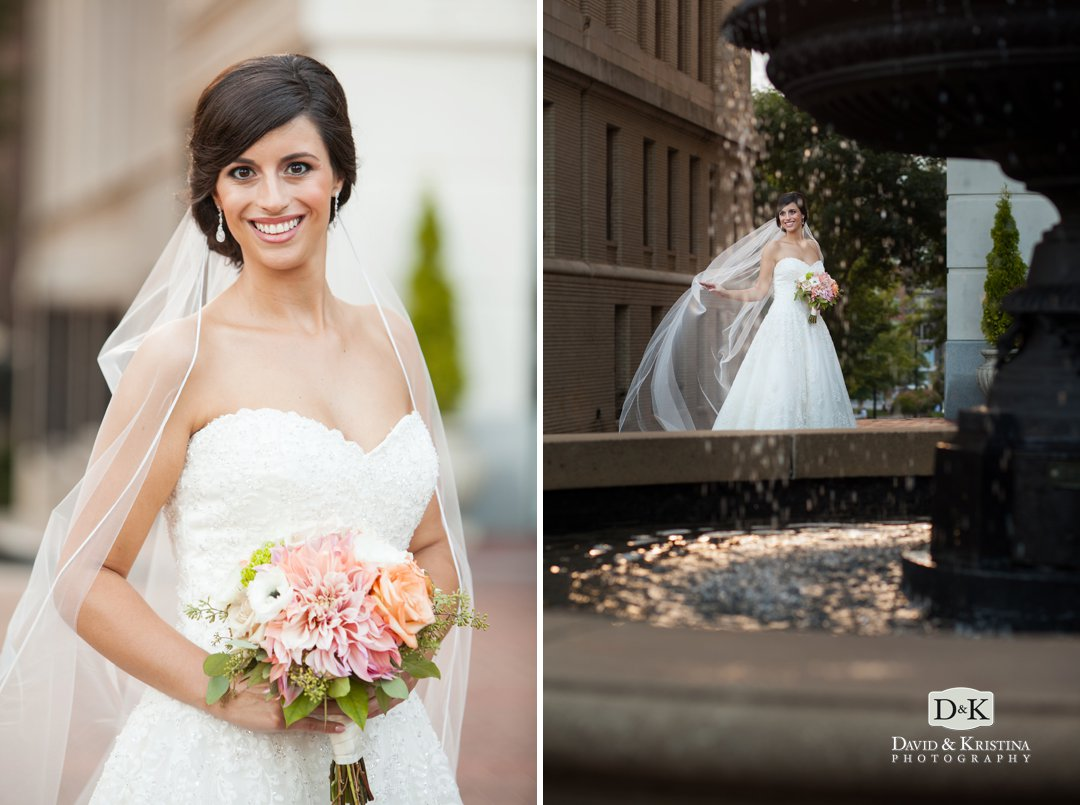 bridal portrait fountain of Westin Poinsett Hotel
