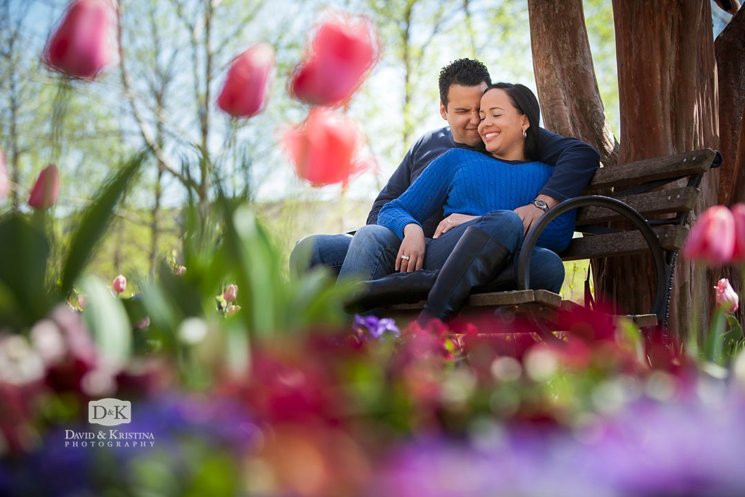 Early Spring in Falls Park engagement pictures