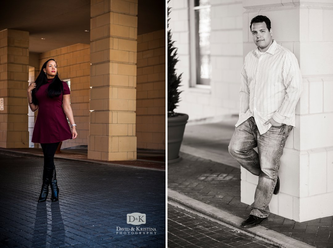 engagement pictures at the Hampton Inn on the River Greenville SC