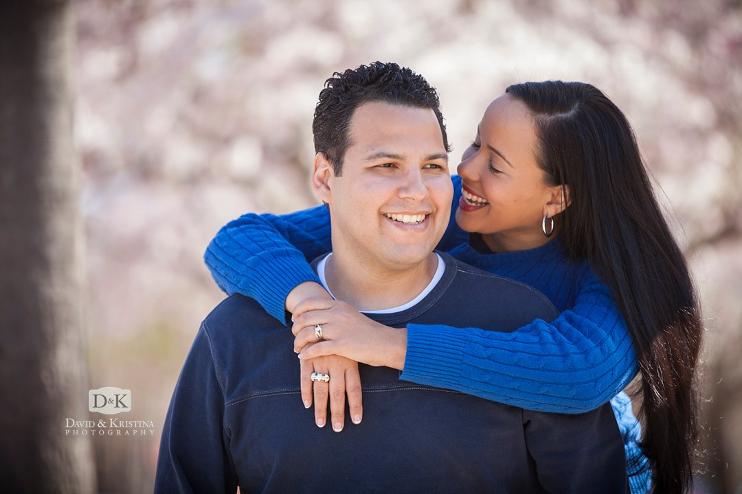 Engagement photos with Cherry blossoms in Greenville SC