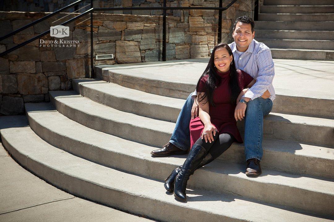 Engagement photo session at Greenville SC Reedy Riverwalk near Hampton Inn
