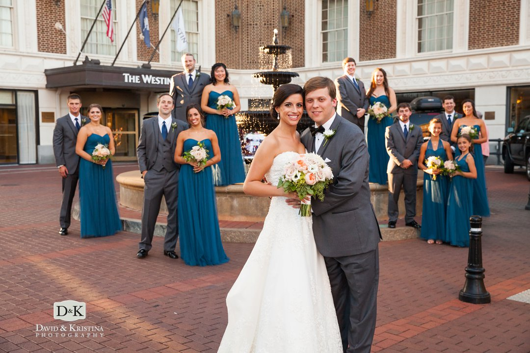 Westin Poinsett wedding photo in front of fountain
