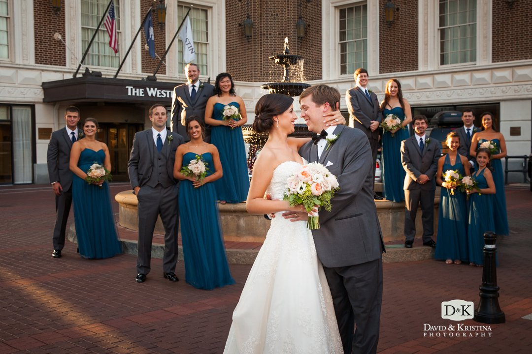 wedding party in front of fountain at Westin Poinsett Hotel wedding