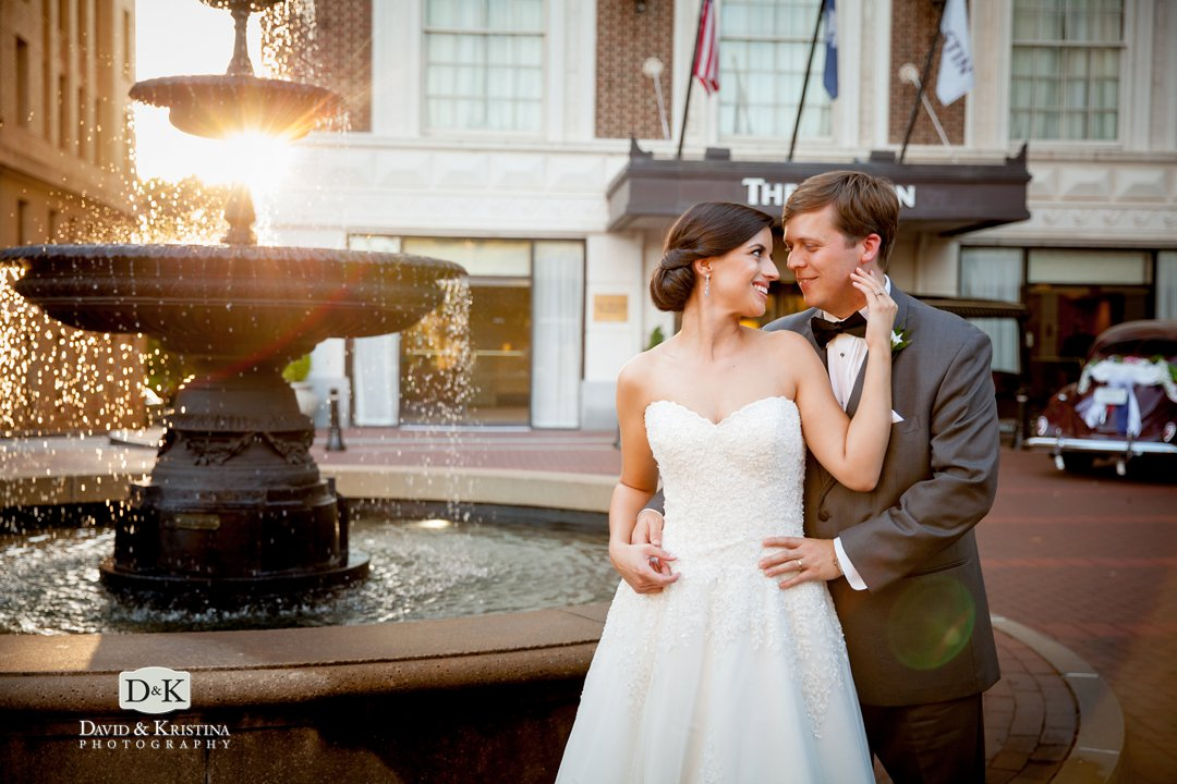 Westin Poinsett wedding photo in front of fountain just before sunset