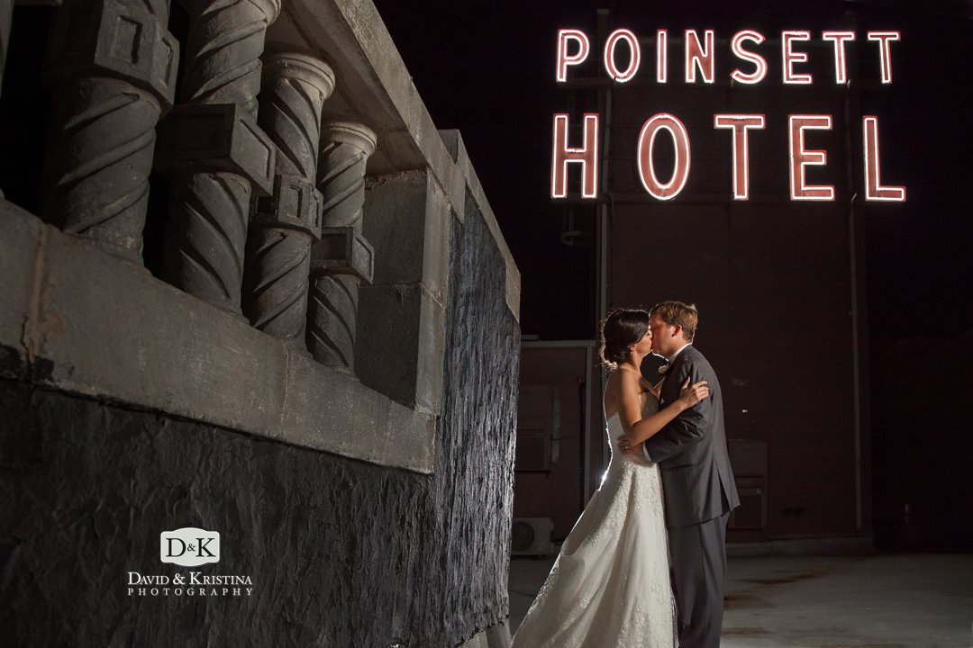 wedding photo on roof of westin poinsett hotel