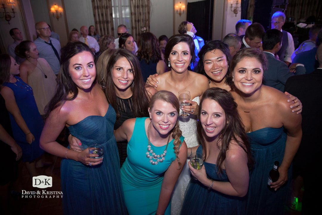 bride and her friends at wedding reception