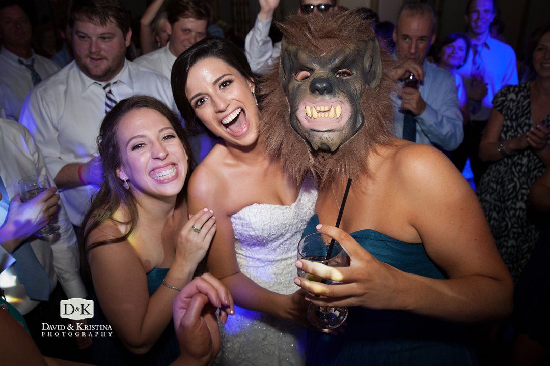 thriller wolf mask at wedding