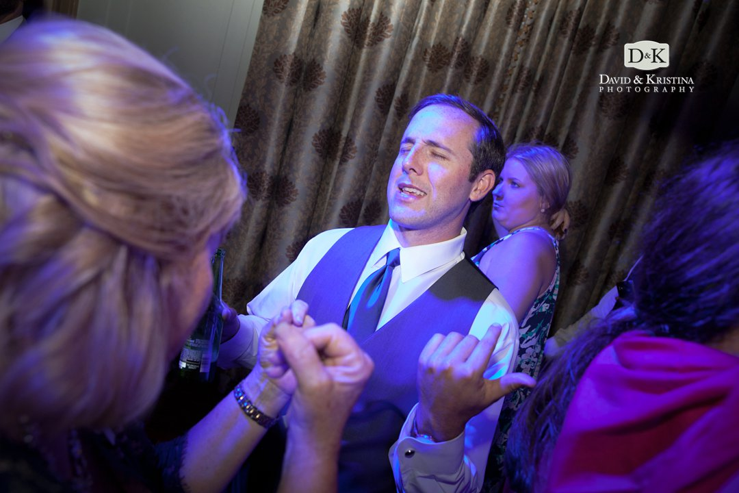 air guitar during wedding reception
