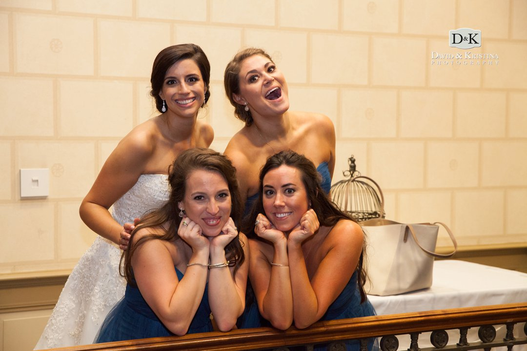 bride and bridesmaids in veranda of Westin Poinsett