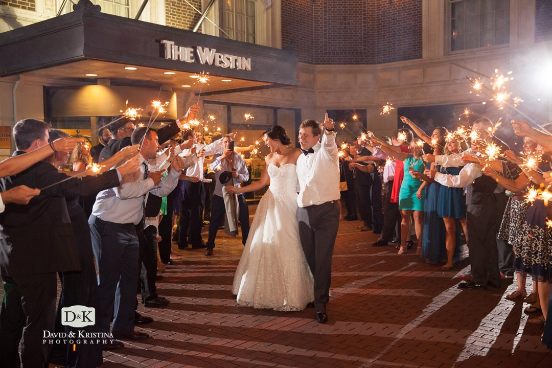 westin poinsett wedding sparkler exit