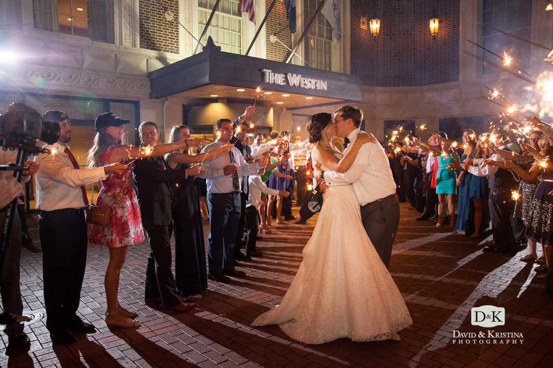 bride and groom kissing during sparkler exit at Westin Poinsett Hotel