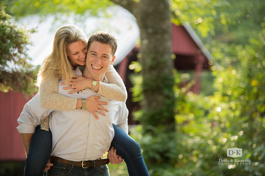 Engagement photos in front of Campbell's Covered Bridge