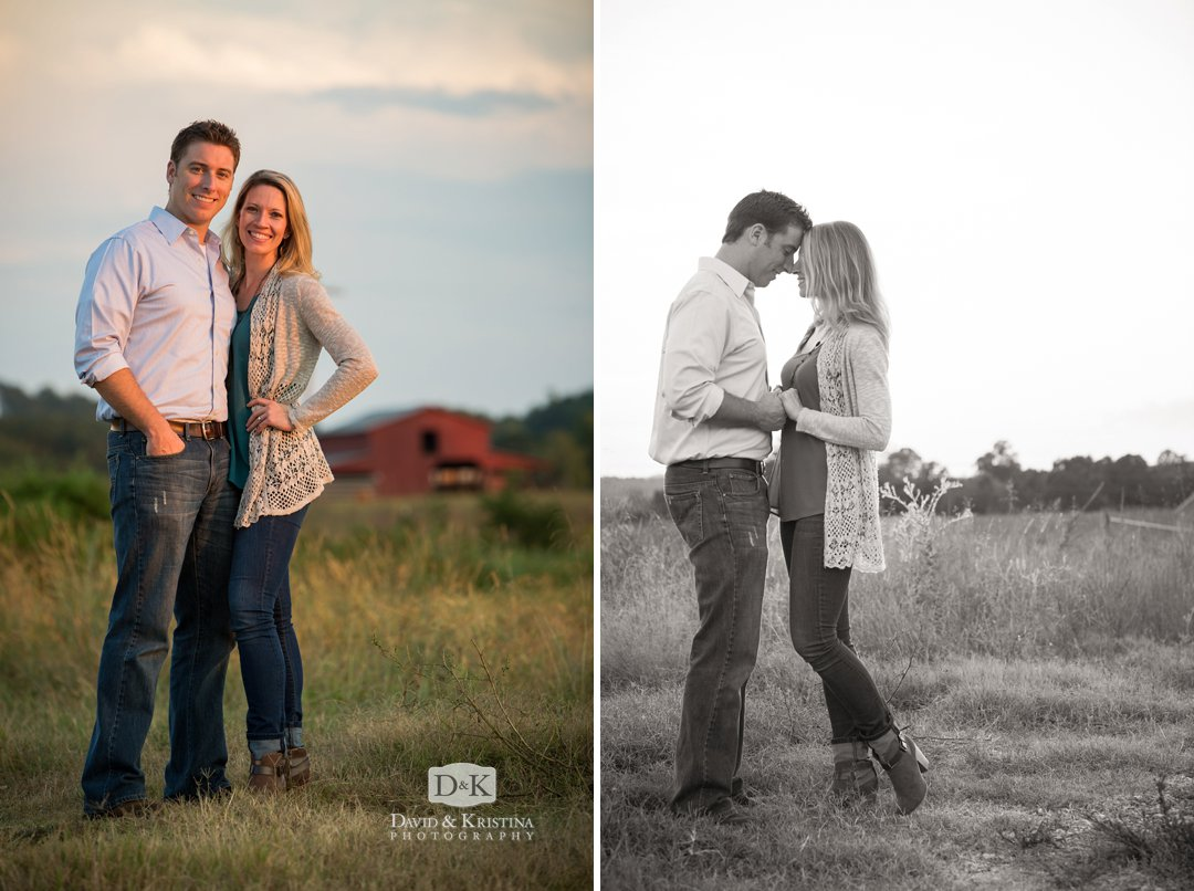 Engagement photos with red barn