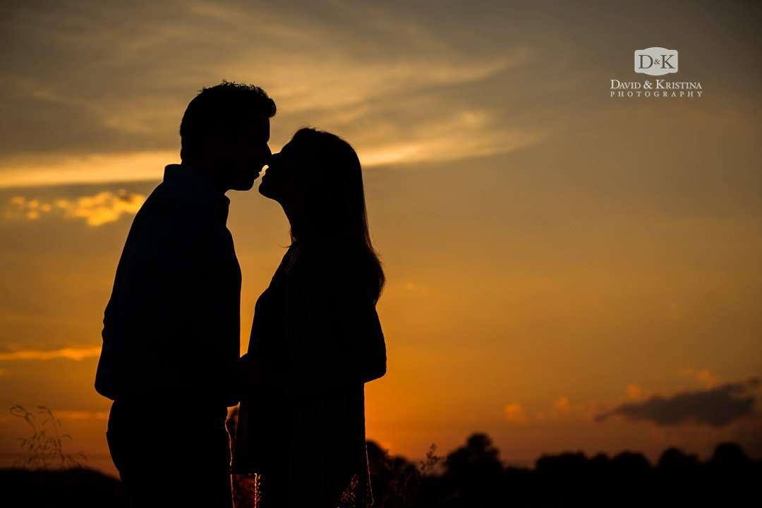 Silhouette at sunset engagement photo session