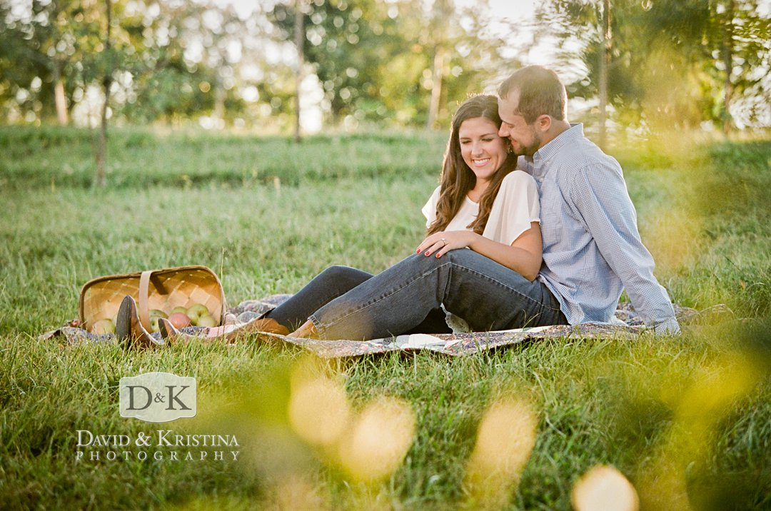 apple picking engagement photos at Chattooga Belle Farm
