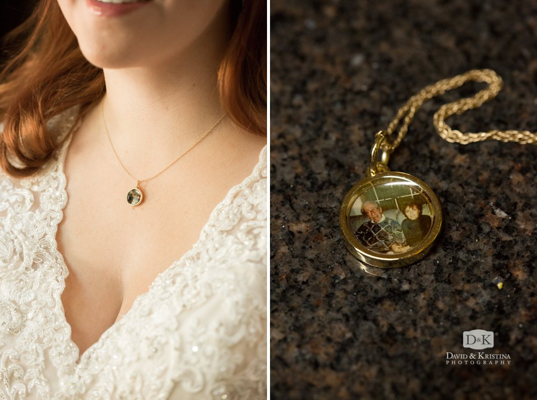 photo pendant with bride's grandparents photo